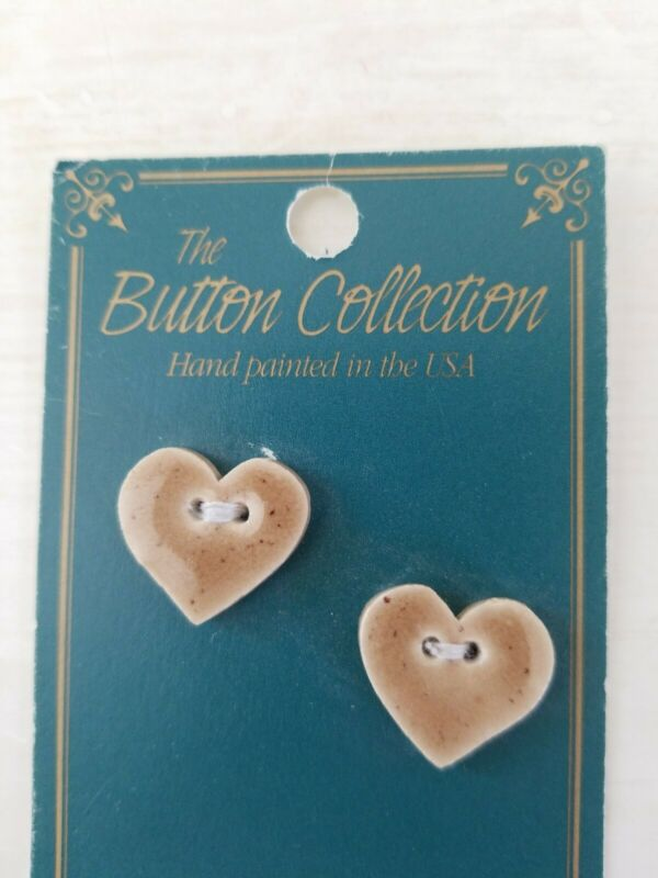 NEW Mill Hill Handmade Ceramic Button Set for Cross Stitch BIG TAN HEART hearts