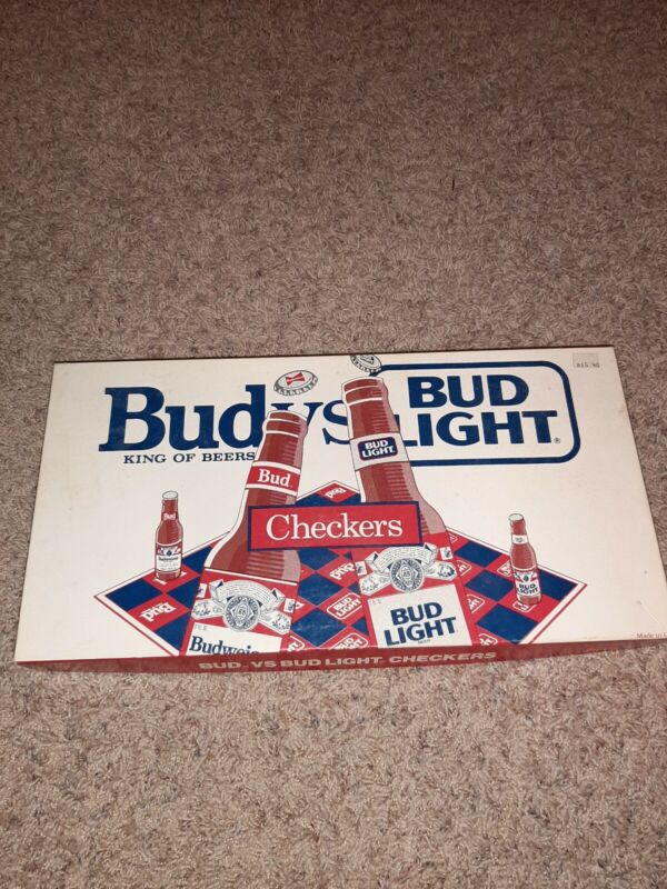 Vintage Rare Bud King of Beers vs. Bud Light Checkers Board Game Complete