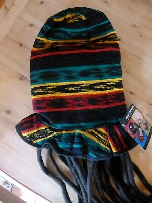 Adult Size Rasta Jamaican Tall Hat with Dread Locks Built In  - Rasta Hat With Dreads