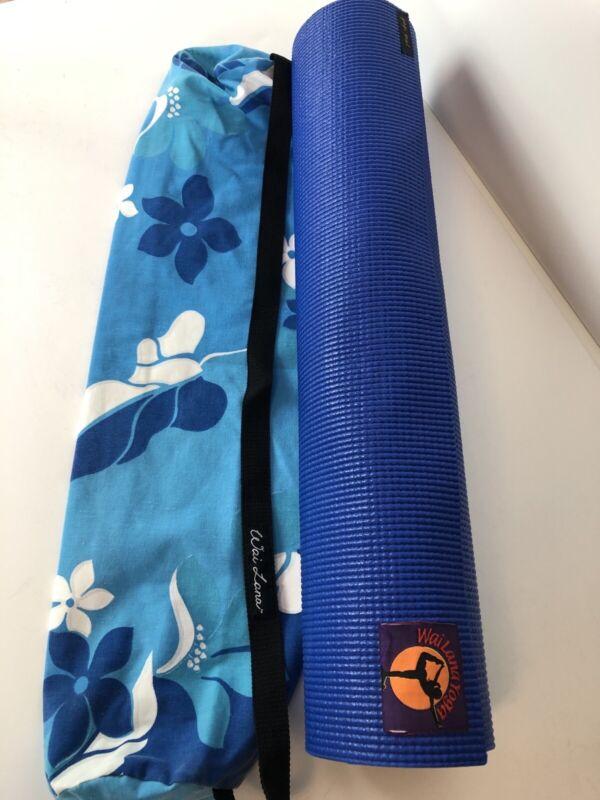 """Wai Lana Fitness Mat Yogi Yoga Blue 24"""" x 68"""" + Carrying Bag Workout"""