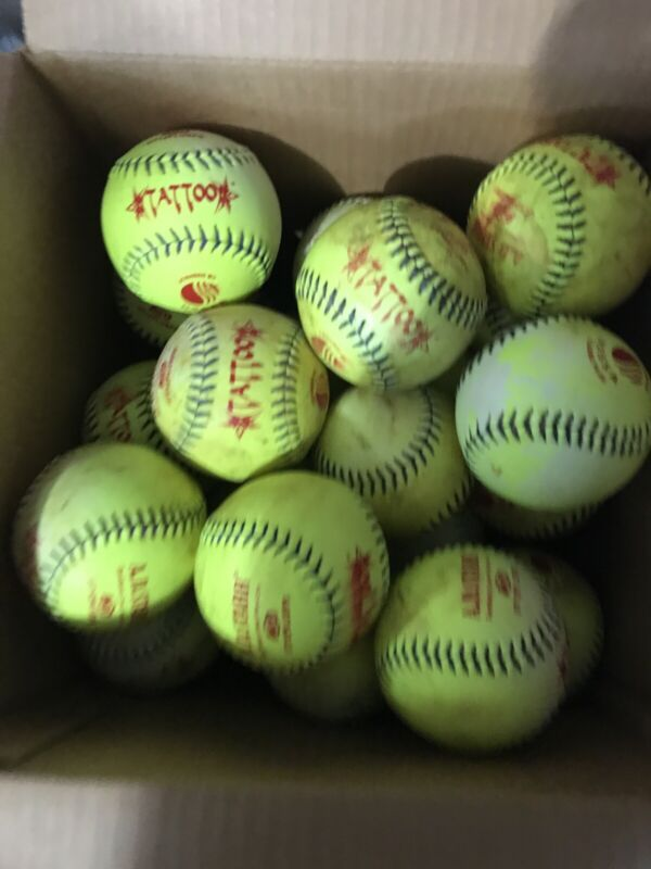 30 Used Mens Slow Pitch  Yellow Softballs- Good Condition.  AD Star Tattoo