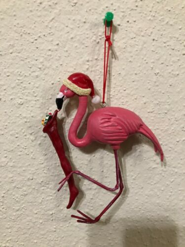 Pink Flamingo With Santa Hat & Toy Stocking Christmas Ornament 6""