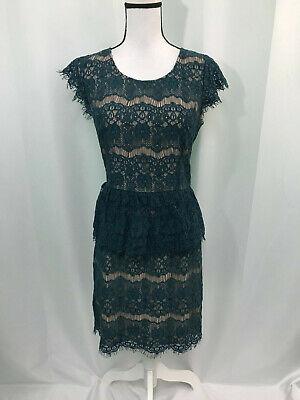 Maeve Anthropologie Womens Teal Elsa Lace Peplum Dress Size Medium ()