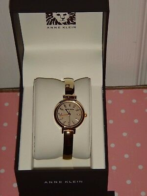 ANNE KLEIN Women's Gold Tone Watch AK/2410BMGB Ivory Dial 26mm Crystal Markers