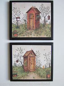 Outhouse His & Hers Wall Decor Pictures country rustic bathroom primitive bath