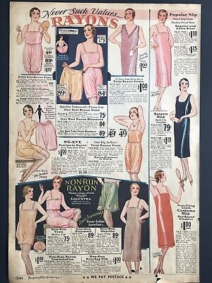 "VTG 1930 Rayon Bloomers Slips Underwear Color Print Ad 9x13"" Deco Poster MWC 200"