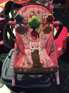Pink infant rock/sit chair & pink booties