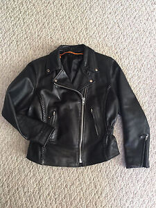 Leather woman's motorcycle jacket - excellent shape