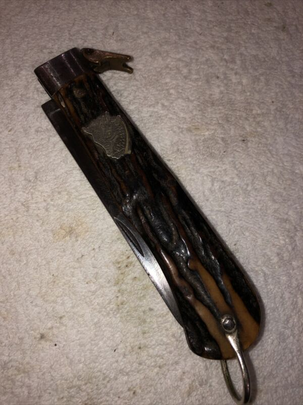 Rare Buffalo Head Stag Lockback Antique Hunting Knife
