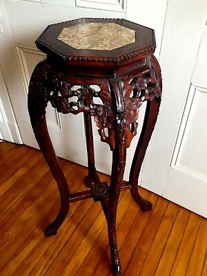 Antique Chinese Carved Rosewood / Marble Top Tall Stand