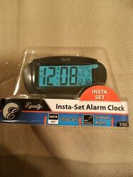 31022 Equity by La Crosse Insta-Set LCD Digital Alarm Clock - Black Refurbished