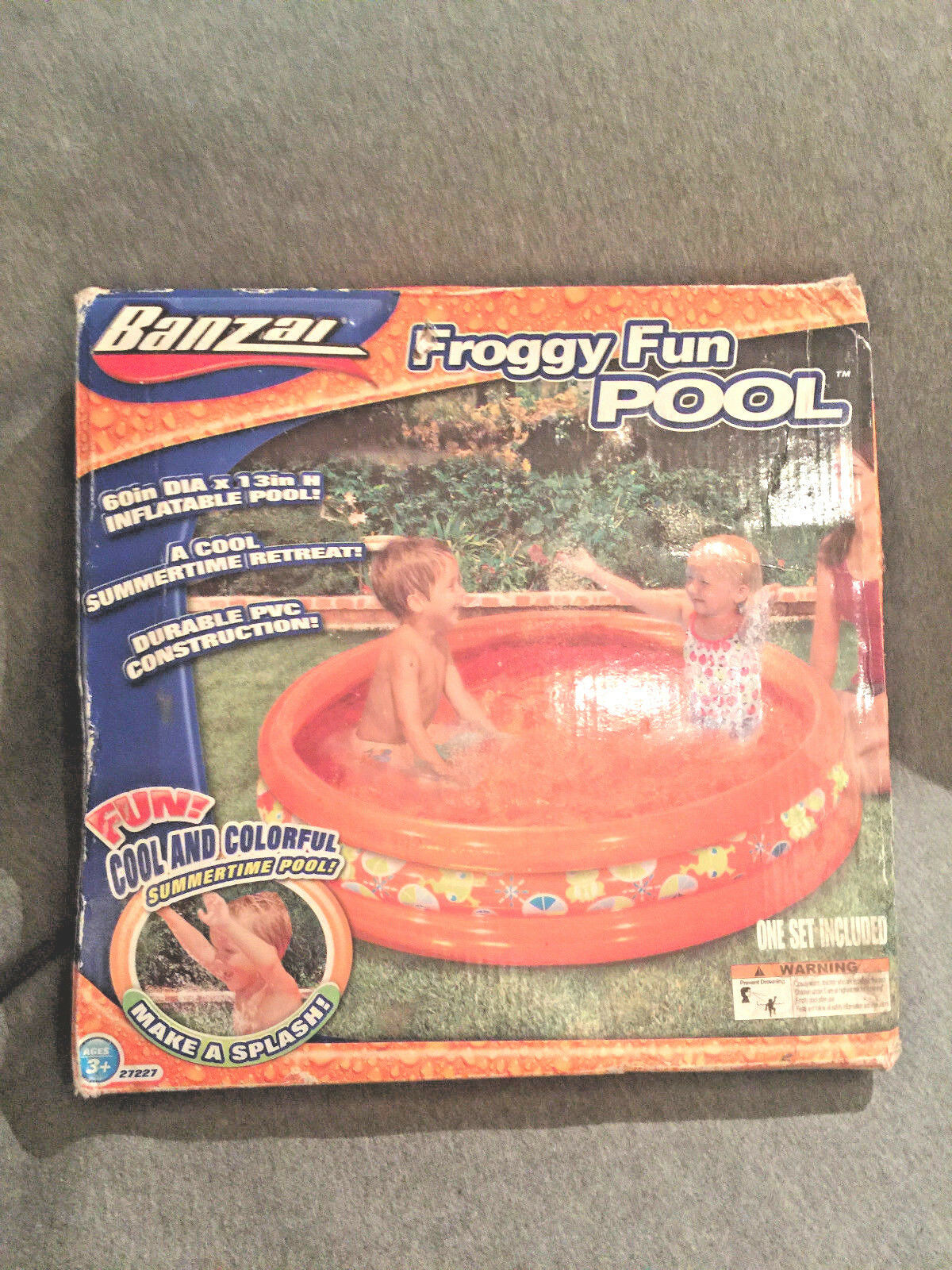"New Inflatable Kids Pool By Banzai Froggy Fun 60"" x 13"" deep"