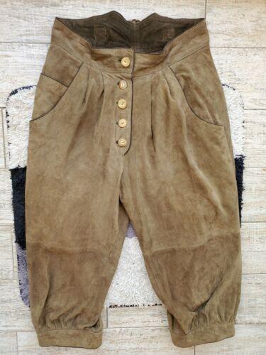 Vintage Austrian Trachten Suede Leather Hunting Lederhosen Breeches Size 40