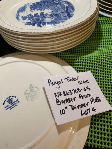 Set 4 Royal Tudor Ware Barker Bros Olde England 10 inch Dinner Plate Blue White