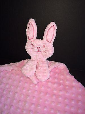 Pink Bunny Rabbit Baby Security Blanket Bumpy Polka Dots Velour - $9.99