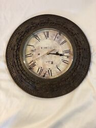"""12"""" Retro Style Round Wooden Wall Clock~ At Home America"""