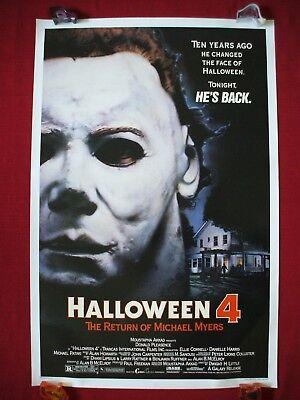 Michael Myers Mask Original Halloween (HALLOWEEN 4 * 1988 ORIGINAL MOVIE POSTER 1SH MICHAEL MYERS MASK DANIELLE)