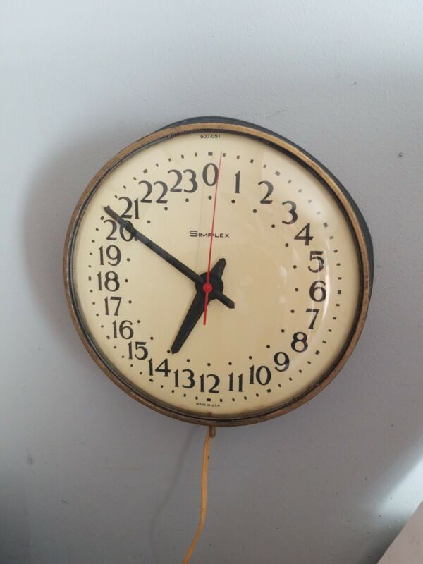 "Vintage 14"" Simplex Military Time Industrial Glass face Clock advertising usa"