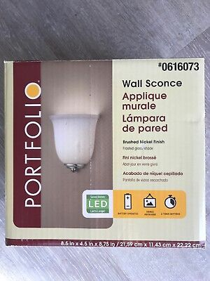 Portfolio Battery Operated LED Wall Sconce, Brushed Nickel Finish  Brushed Nickel Finish Sconce