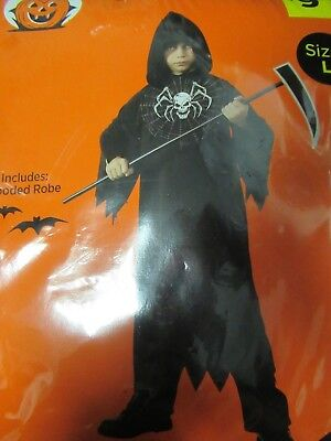 Grim Reaper Halloween Costume Black hooded Robe Sz L 8-10 years Spider/Skull](Grim Reaper Halloween Costume)