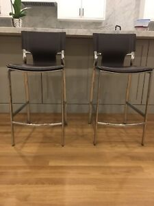 2 luxurious leather stools