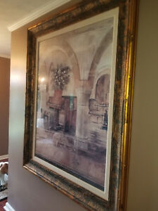 X-Large Decorative French Country Piano Picture with Gold Frame Gorgeous