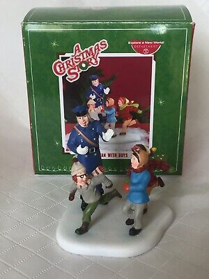 Policeman With Boys (A Christmas Story Policeman With Boys 2008 Department 56 MINT)