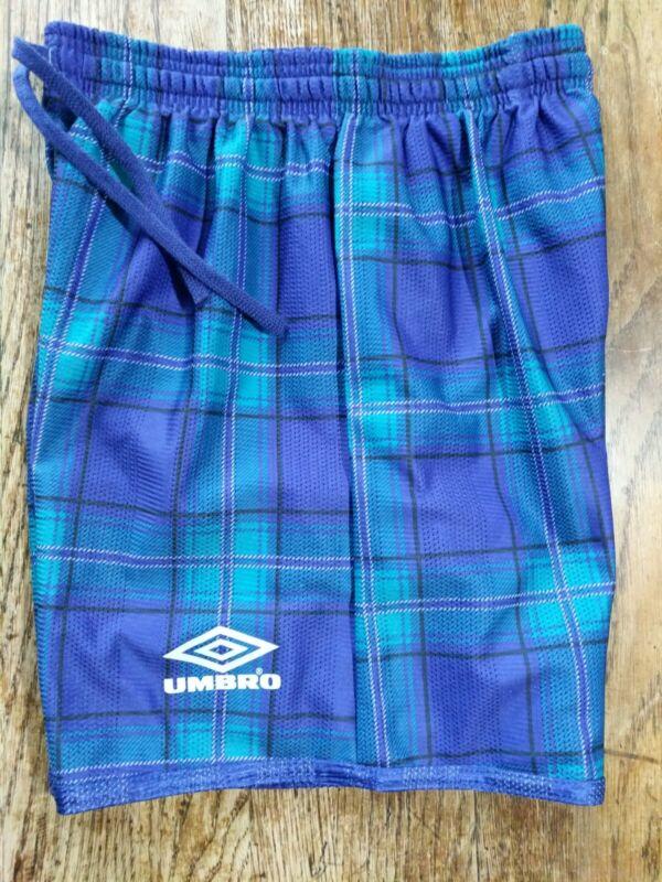 UMBRO VTG 90s YOUTH LG Green Purple Plaid Reversible Shorts Mesh Material NWOT