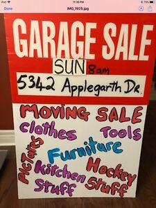 GARAGE SALE changed to Sunday due to bad weather