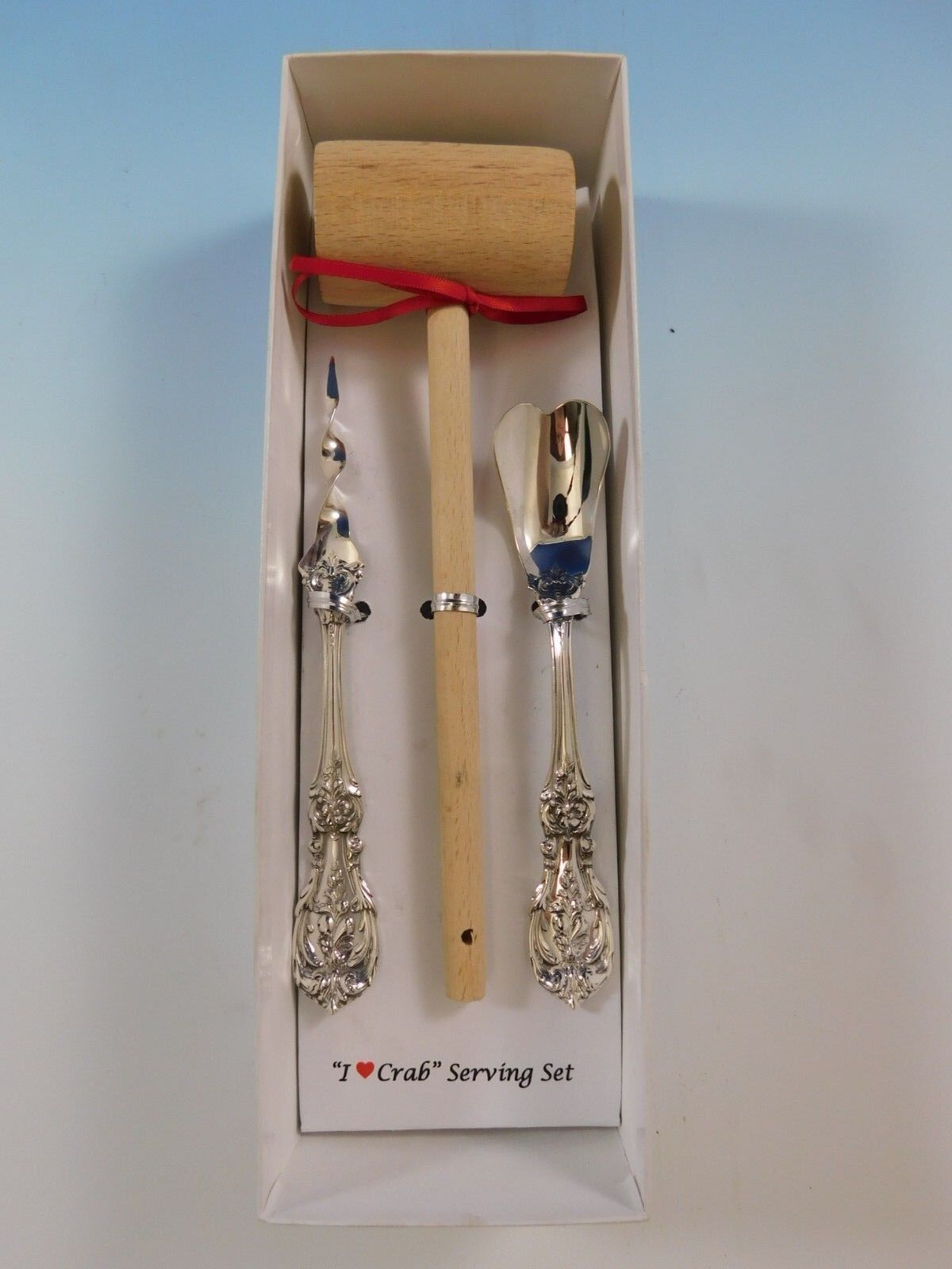 """Burgundy by Reed and Barton Sterling Silver /""""I Love You/"""" Serving Set 3pc Custom"""