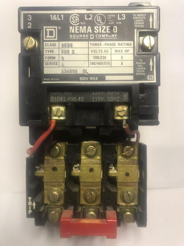 Square D 8536SB02 , ser. A, NEMA size 0, motor starter, 110/120VAC coil.  G63