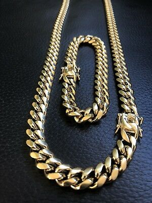 - 10mm Mens Miami Cuban Link Bracelet & Chain Set 14k Gold Plated Stainless Steel