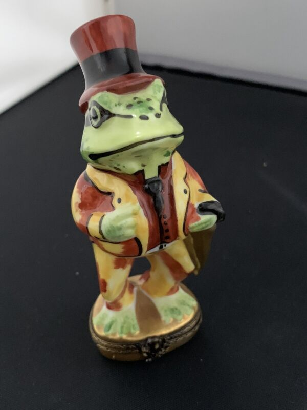 Limoges Charming Frog Porcelain Hand Painted Trinket Box France Perfect