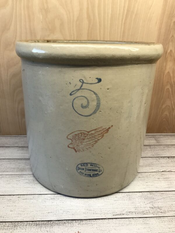 Very Nice Vintage RED WING 5 Gallon Pottery Crock UNION STONEWARE CO