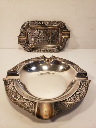 VINTAGE 2 PIECE SILVER PLATED ASHTRAY FREE SHIP X