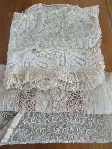 Antique Mixed Lace Lot 4 Panels & Ruffled Collars Trims Doll Bear Dress Bonnet