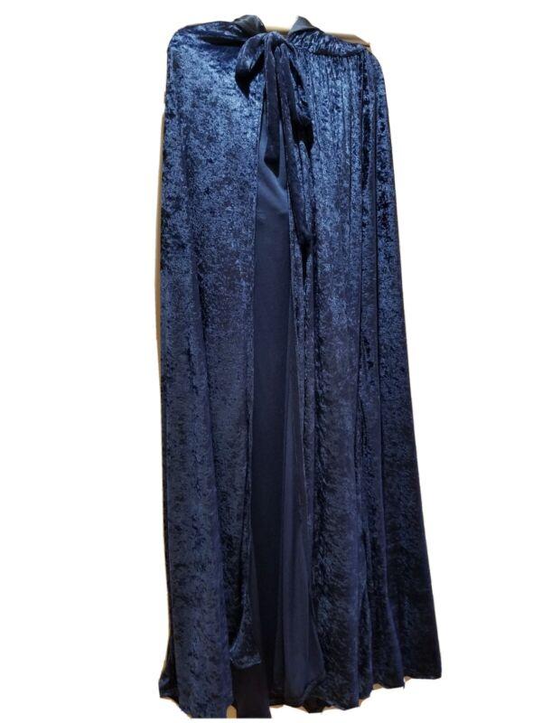 Hooded Cloak Womens Blue Crushed Velvet Renaissance Garb LARP cosplay