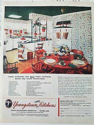 1954 retro red and white Youngstown Steel kitchens vintage ad