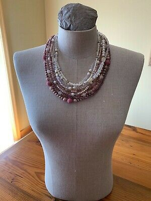 Stephen Dweck Multi Strand White/Pink/Purple Pearl~Shell~Rock Crystal Necklace Purple Shell Pearl Necklace
