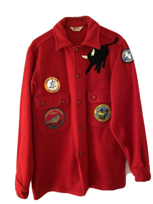VTG 1950 Boy Scout Jacket Red Wool Blend Philmont Bull Michigan Audubon Society