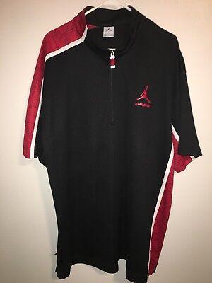 Nike Jordan Jumpman Shirt Jersey 1/4 Zip Red Black Logos Mens XXL Clean EUC