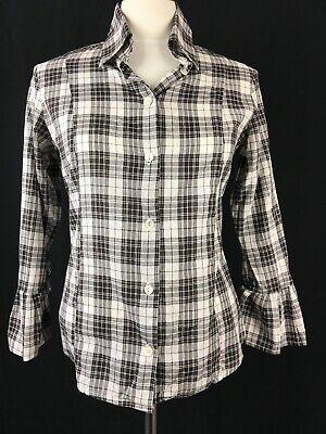 Fine Garments By Bell Jane Pleated Fan Cuff Fitted Shirt Size 8 EUC