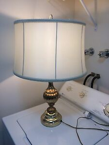 Vintage lamp with off white lamp shade