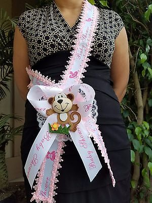 Pink Baby Shower Mom To Be It's a Girl Sash Monkey Safari Ribbon Corsage Noah's - Girl Monkey Baby Shower