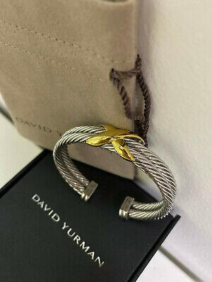 David Yurman Cable Cuff 925 Sterling Silver Bracelet 14k Gold double X 10mm  David Yurman Gold Bracelet
