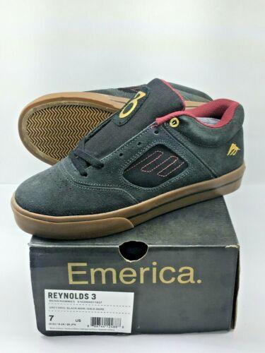 Emerica Reynolds 3 Grey/Black/Gold Collab Skateboard Shoe SIZE 7 / 39