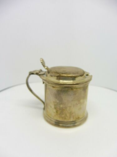 STERLING SILVER MUSTARD POT TANKARD WITH COBALT LINER AND SOLID STERLING TOP