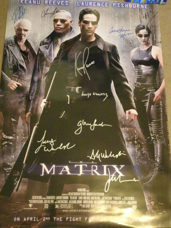Beautiful The Matrix 1999 Signed Movie Poster 9 sigs!!! w/ Foster & Wachowskis