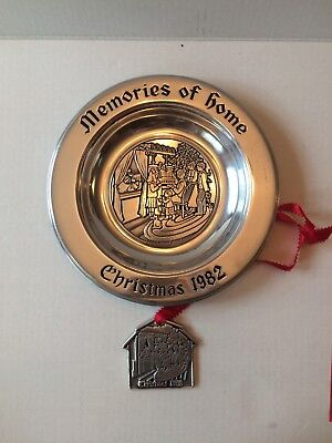 "(1982 Wilton Armetale Plate Christmas "" Memories Of Home""9/14 With Ornament Rare)"