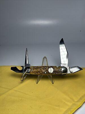 Vintage CATTARAUGUS CUTLERY CO 4-Blade Camp/Utility Pocket Knife w/Compass Bone